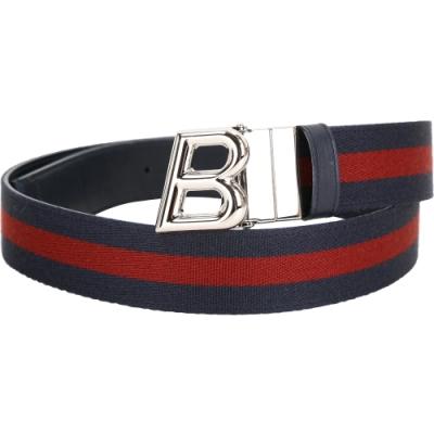 BALLY B OBLIQUE B字金屬雙面兩用牛皮腰帶(深藍色)