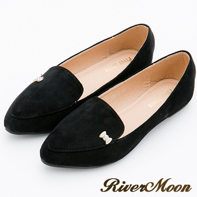 River&Moon大尺碼-簡約細絨鑽飾紳士樂福鞋-完美黑