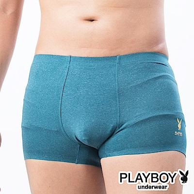 PLAYBOY 兔頭LOGO素面裸感無痕合身四角褲平口褲-單件-綠