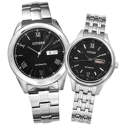 CITIZEN 星辰表 日本製造機械錶情人對錶-黑色/41mm+29mm