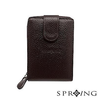 SPRING-網路獨家-簡約荔紋卡片拉鍊包-簡約咖啡
