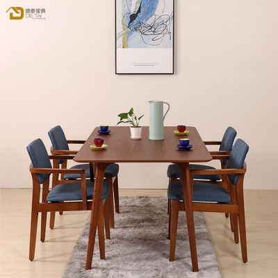 D&T 德泰傢俱 Novi北歐時尚北美松木扶手椅(胡桃色+深藍色貓抓皮)寬54X深52X高79公分