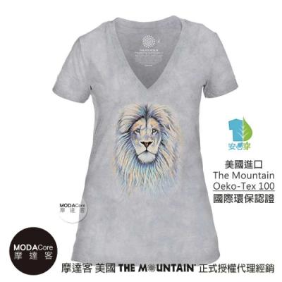 摩達客-美國The Mountain都會系列 絢麗獅王灰底 V領藝術修身女版短袖T恤