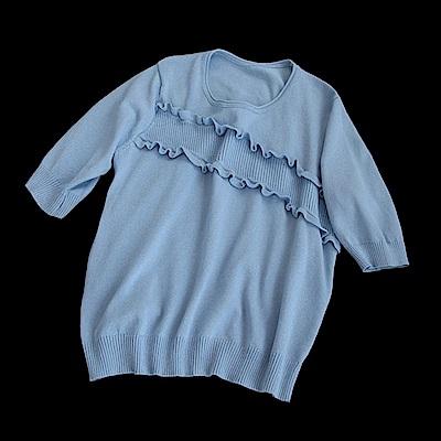 寬鬆木耳貼邊針織衫t恤內搭上衣-設計所在