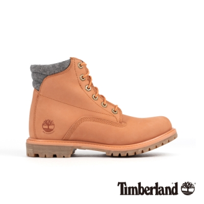 Timberland 女款粉橘色磨砂革防水經典6吋靴|A26G3