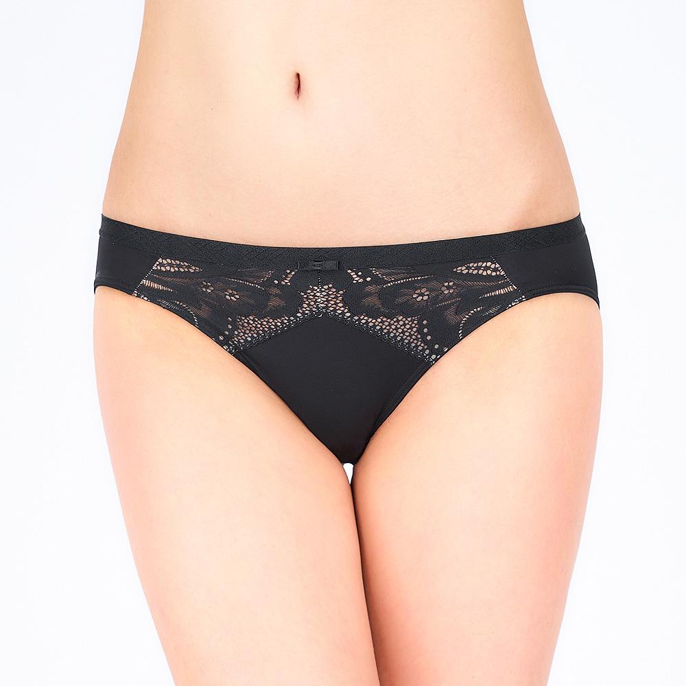 黛安芬-奇幻水感動系列 超細纖維低腰三角內褲 M-EL 經典黑