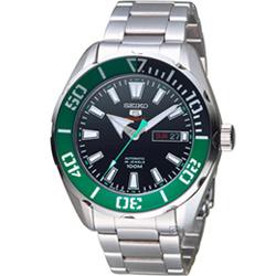 SEIKO精工5號復刻潮流機械腕錶(SRPC53J1)-綠x銀