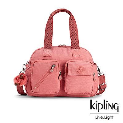 Kipling經典款薔薇粉多層實用手提側背包