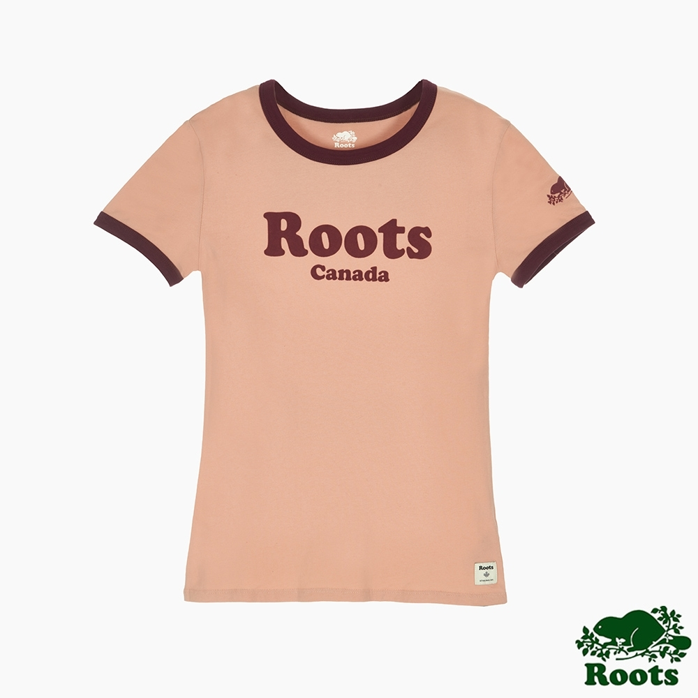 Roots女裝-曠野探索系列 Roots文字修身短袖T恤-粉