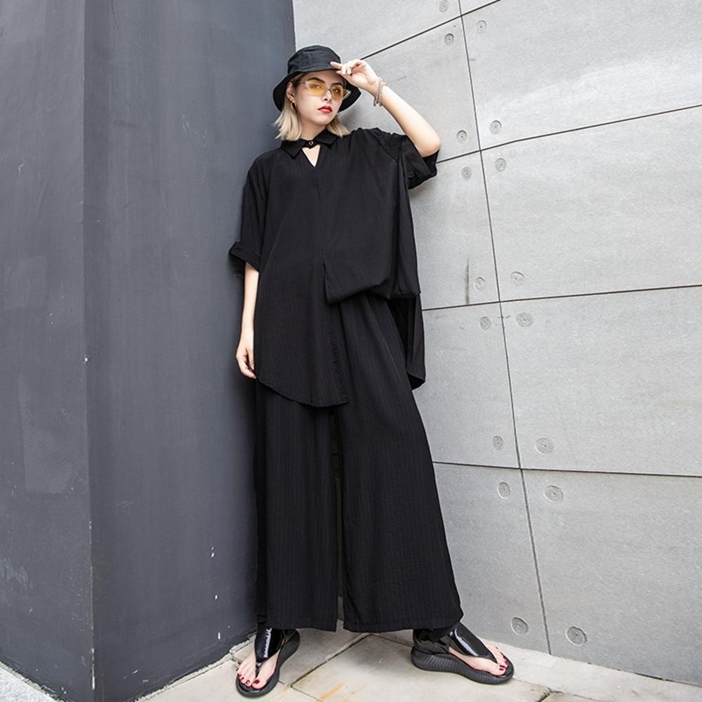 復古時尚鏤空領純色寬鬆闊腿褲套裝-F(共二色)-CLORI
