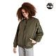 Timberland 女款軍綠色經典泡泡紗棉質寬鬆飛行外套|A2BWQ product thumbnail 1