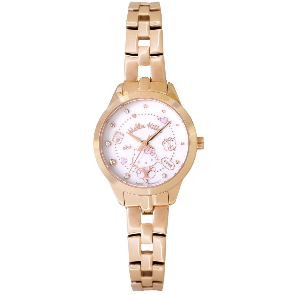 HELLO KITTY 凱蒂貓 微甜繽紛手錶 -白x玫瑰金x紫/27mm