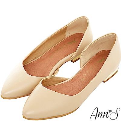 Ann'S成熟高雅-金跟側空尖頭平底包鞋-杏