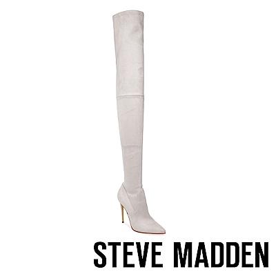 STEVE MADDEN-DOMINIQUE尖頭高跟過膝套靴-絨灰