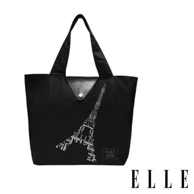 【限時】ELLE 鐵塔插畫環保摺疊購物袋- 經典黑G52368