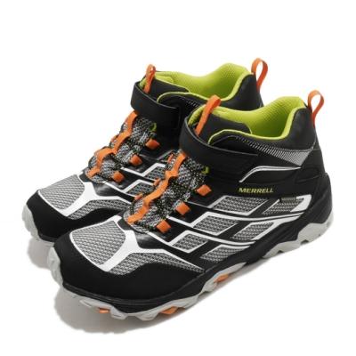 Merrell 戶外鞋 Moab FST Waterproof 童鞋 登山 越野 運動 魔鬼氈 耐磨 中大童 黑 白 MK264170