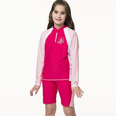 聖手牌 兒童泳裝 防曬防寒兩件式長袖中童泳裝水母裝