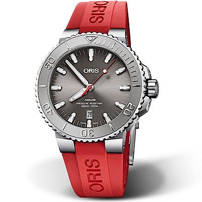 Oris豪利時Aquis Relief防水300M潛水機械錶-43.5mm(橡膠/紅)