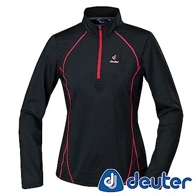 【deuter德國】女款保暖吸溼排汗長袖拉鍊衫DE-P1506W黑