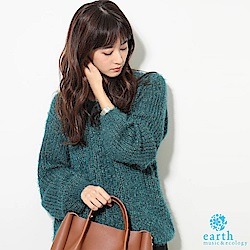 earth music 柔軟毛絨感V領針織衫