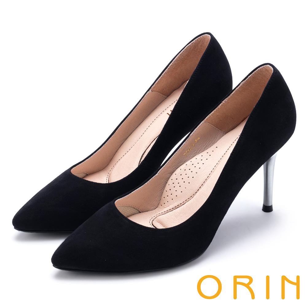 ORIN 真皮典雅素面尖頭 女 高跟鞋 絨黑