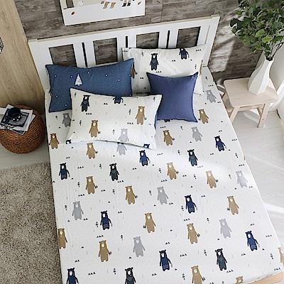鴻宇 100%精梳棉 英倫小熊 雙人床包枕套三件組