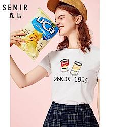 SEMIR森馬-活力罐頭圖案INS最潮短袖T恤-女