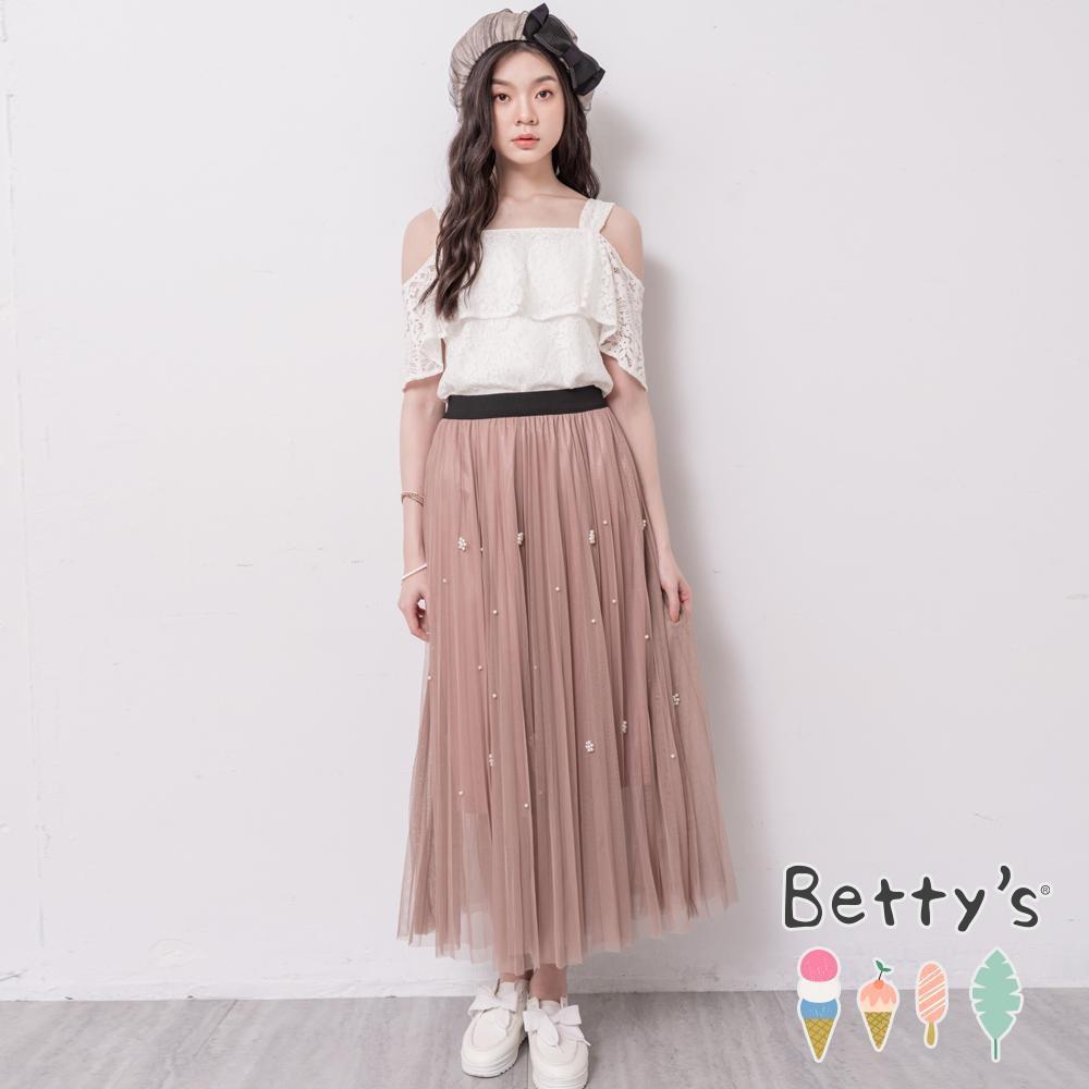 betty's貝蒂思 典雅珠飾層次網紗長裙(駝色)