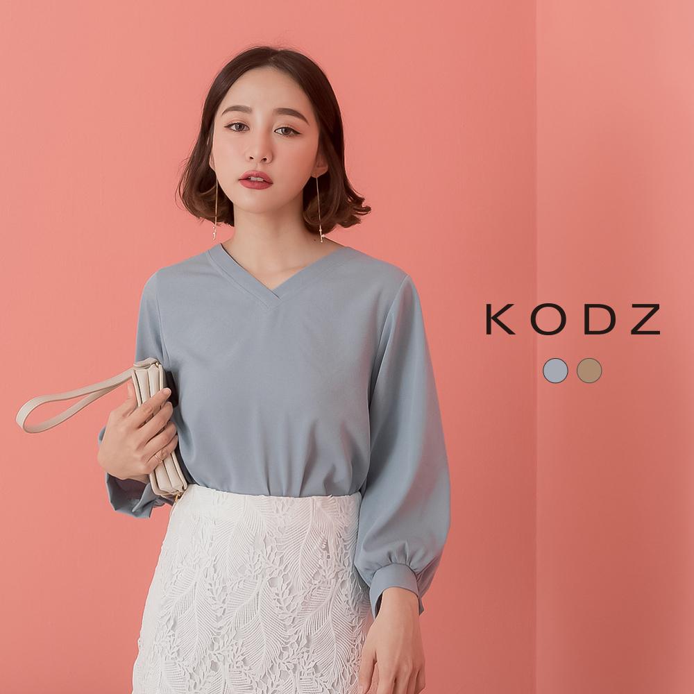 東京著衣-KODZ-女人心機後綁結純色V領上衣-S.M.L(共兩色)