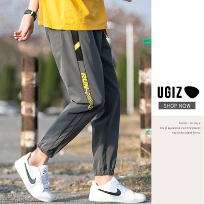 UGIZ男裝-時尚潮流修身顯瘦百搭口袋撞色造型縮口褲-2色(M-2XL)