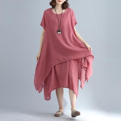 米蘭精品 連身裙短袖洋裝-假兩件純色寬鬆不規則女裙子3色73xz47