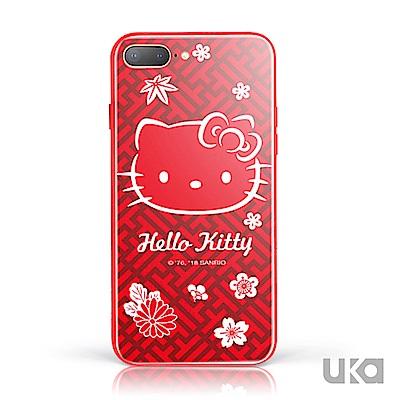 三麗鷗 HelloKitty iPhone 7+/8+ 鋼化玻璃彩繪背蓋 - 火火紅紅凱蒂 @ Y!購物