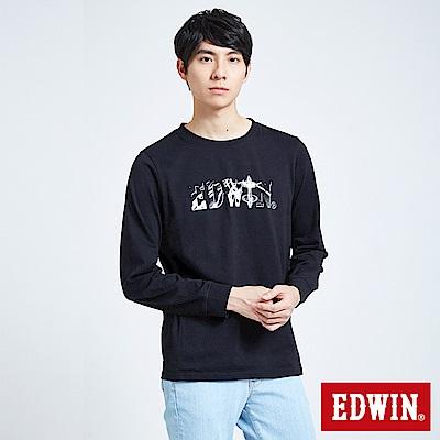 EDWIN 潮流機能 極限車框LOGO長袖T恤-男-黑色