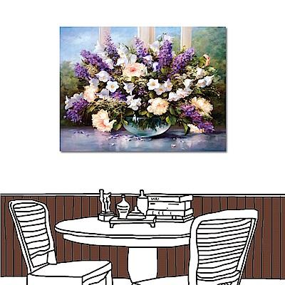橙品油畫布 單聯式橫幅 無框掛畫-高貴花卉40x30cm