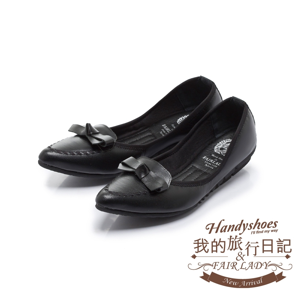 FAIR LADY我的旅行日記-口袋版 清新蝴蝶結飾平底鞋 黑