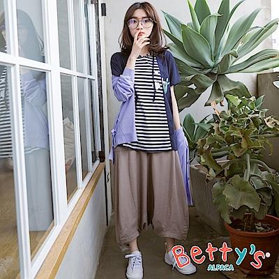 betty's貝蒂思 後拉鍊半鬆緊寬鬆褲裙(駝色)