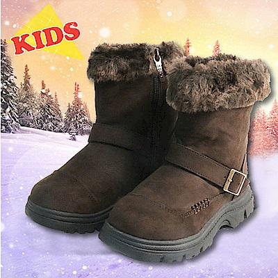 冰雪魅力 童新款 中高筒專業防滑保暖雪鞋_深咖啡