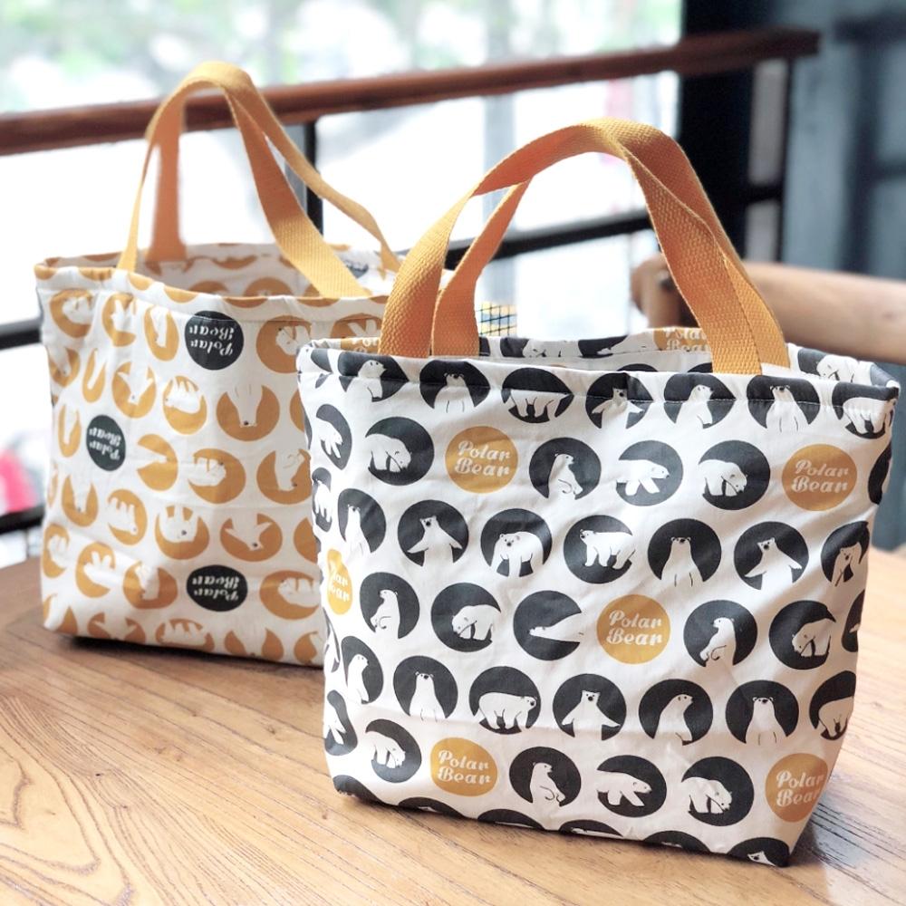 【優貝選】韓版北極熊 多用途 保溫 防水小手提包/便當袋/午餐提包(3色)