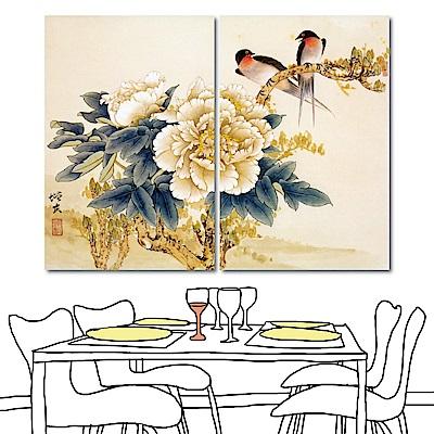 橙品油畫布 二聯式 無框畫掛畫-燕與牡丹40x60cm