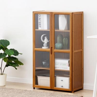 楠竹帶門置物櫃-雙門四層 60×30×100CM