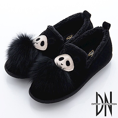 DN 舒適保暖 立體毛毛熊貓平底毛絨鞋-黑