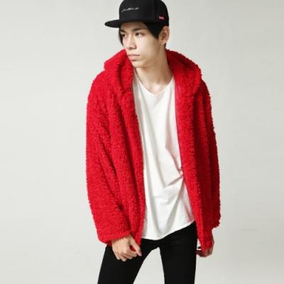 仿羊絨素色夾克厚外套連帽外套(5色) ZIP日本男裝