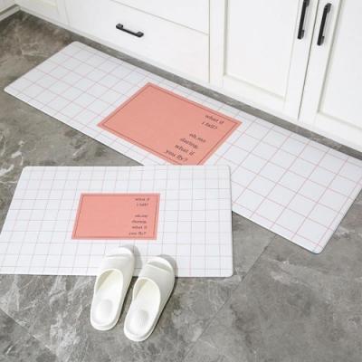 BUNNY LIFE 防油防水皮革廚房地墊-粉格子(大45x120cm)