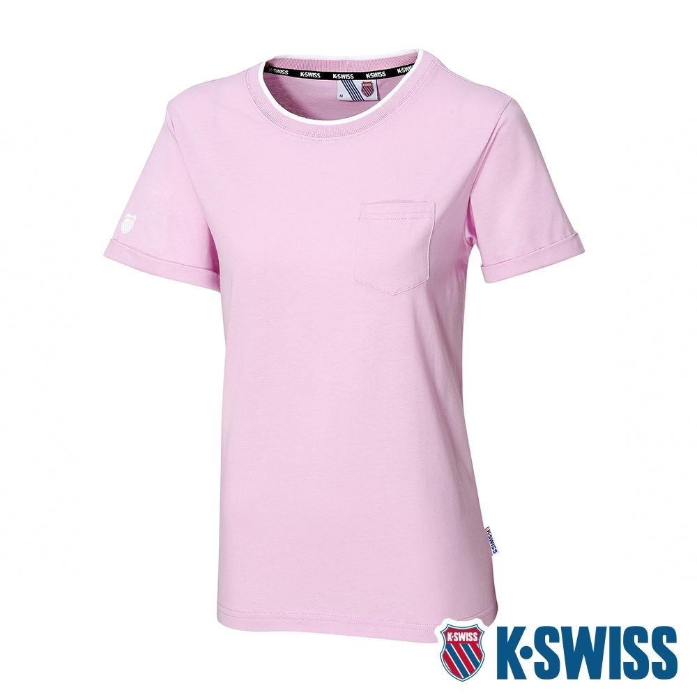 K-SWISS KS Logo Crew Neck Tee印花短袖T恤-女-粉紫