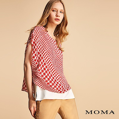 MOMA 千鳥格雪紡假兩件上衣