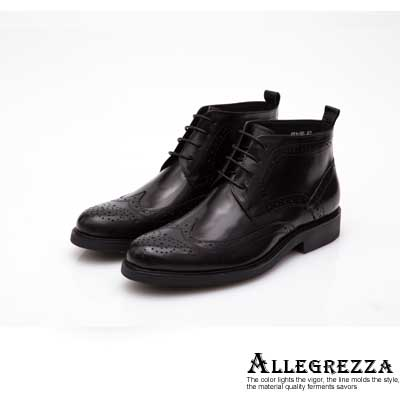 ALLEGREZZA-真皮男鞋-帥氣焦點-真皮藝紋雕花繫帶短靴 黑色