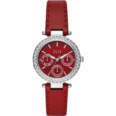 ELLE Marais 系列晶鑽日曆時尚女錶-紅x33mm ELL23002