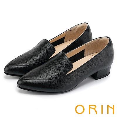 ORIN 復刻經典 質感牛皮尖頭樂福低跟鞋-黑色