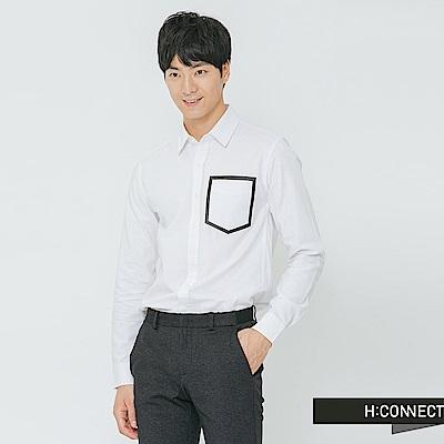 H:CONNECT 韓國品牌 男裝-撞色口袋造型襯衫-白