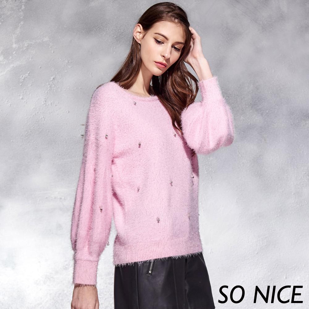 SO NICE氣質鑽飾毛絨感針織上衣